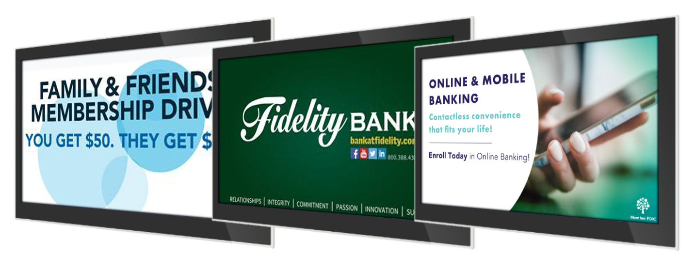 bank and credit union branch digital signage content