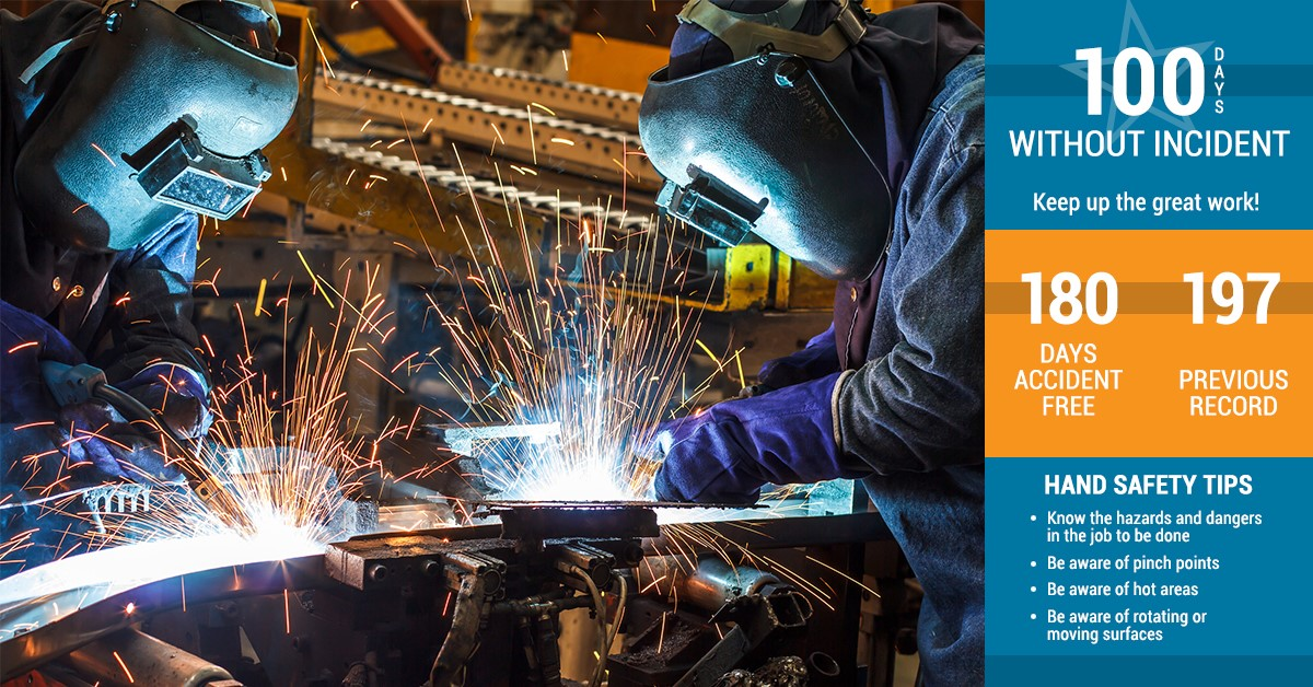 digital message in manufacturing facility recognizing accident free days